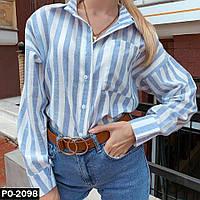 Женская свободная льняная рубашка в полоску Оверсайз