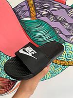 Шлепки шлепанцы сланцы тапки Nike (найк черные)
