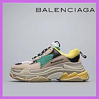 Женские кроссовки Balenciaga Triple S Beige Yellow Green