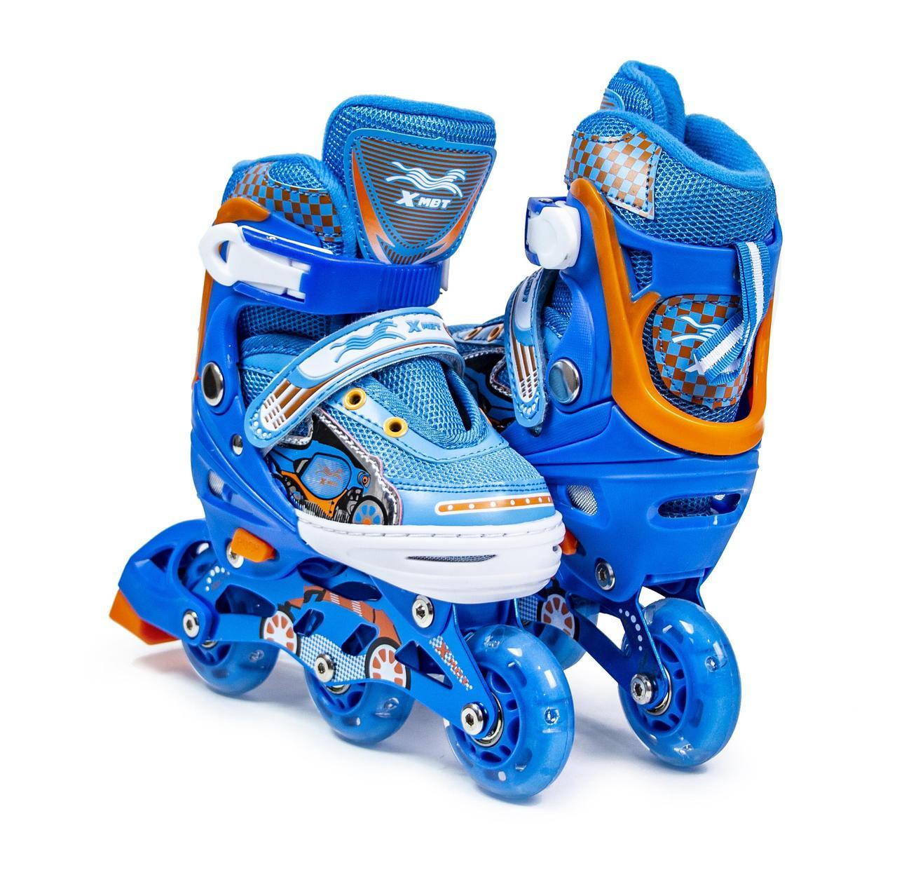 Ролики детские Xmbt размер 27-30 Синие, колеса со светом