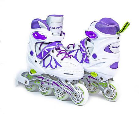 Ролики раздвижные Scale Sports (LF 601A) размер 38-41 Бело-фиолетовые - Роликовые коньки и лыжероллеры, фото 2