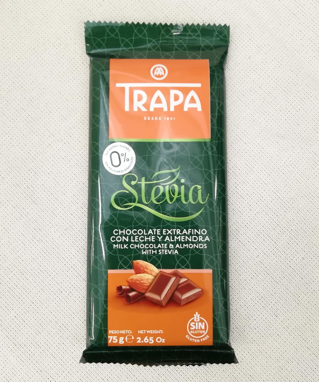 Шоколад без сахара Trapa Stevia Milk Chocolate with Almonds 75 gramm