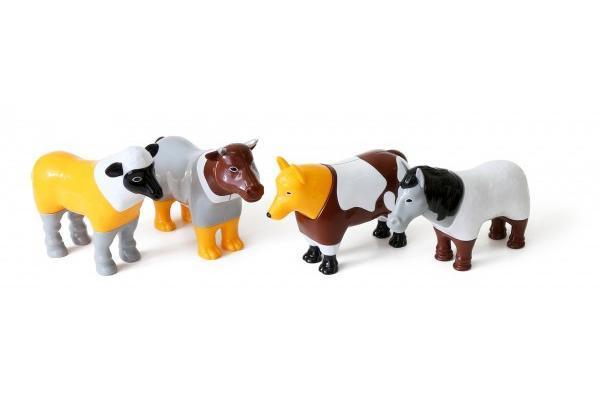 Пазл 3D детский магнитные животные POPULAR Playthings Mix or Match (корова, лошадь, овца, собака) - Игрушки