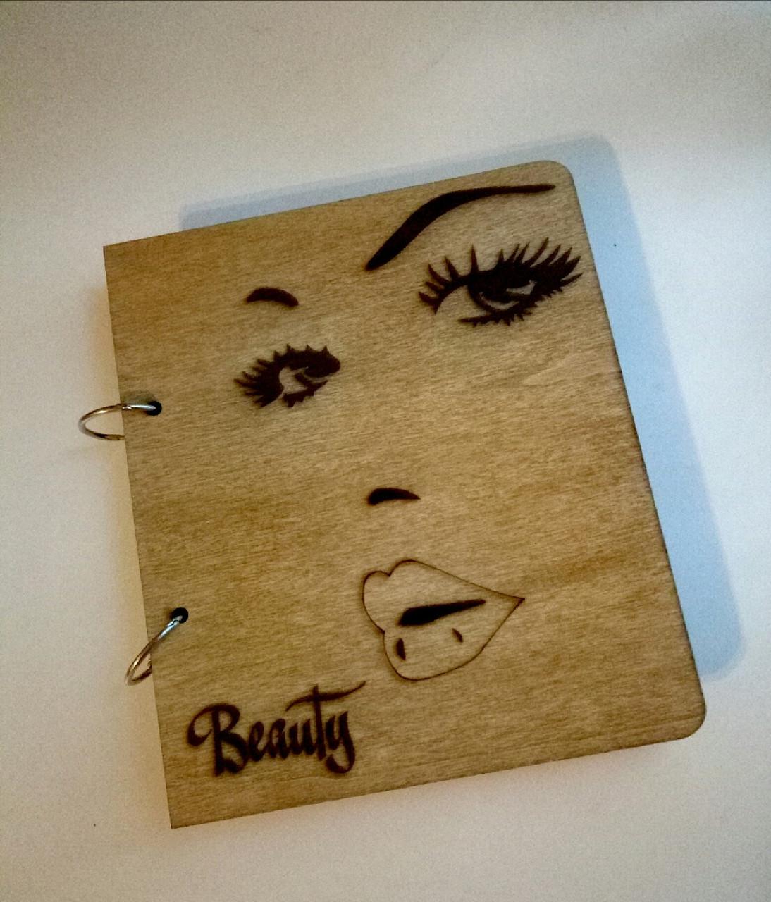 """Деревянный блокнот """"Beauty"""" (на кольцах с ручкой), ежедневник из дерева"""