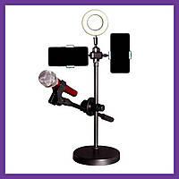 Лампа кольцевая квадратная LED 16 см с двумя держателями + насадка для микрофона