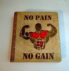 """Деревянный блокнот """"No pain no gain"""" (на цельной обложке с ручкой), ежедневник из дерева, записная книга"""