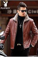 Мужская зимняя куртка кожзам стильная с воротником утепленная мех, фото 1
