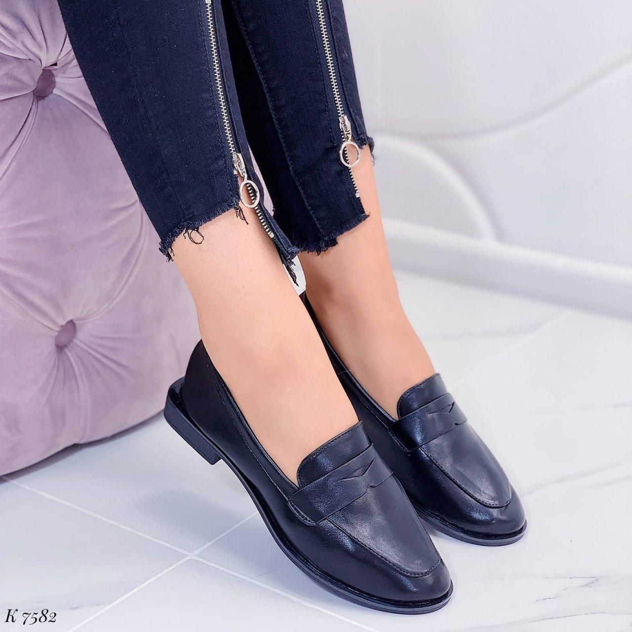 Женские лоферы - туфли черные эко кожа