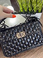 Женская кожаная сумка Valentino Валентино черная, сумка Валентино, сумка натуральная кожа