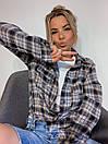 Женская рубашка оверсайз в клетку с карманами на груди 3ru374, фото 2