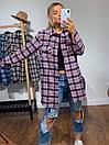 Женская рубашка оверсайз в клетку с карманами на груди 3ru374, фото 4