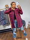 Женская рубашка оверсайз в клетку с карманами на груди 3ru374, фото 5