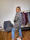 Женская рубашка оверсайз в клетку с карманами на груди 3ru374, фото 7