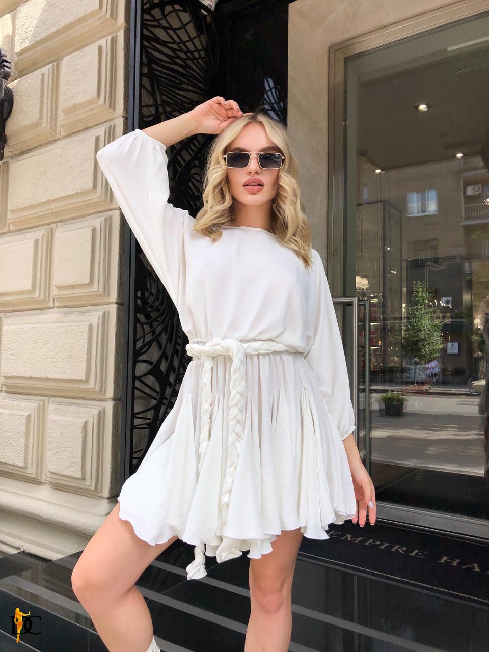 Белое летнее платье с расклешенной юбкой и рукавами фонариками 31py1497