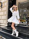 Белое летнее платье с расклешенной юбкой и рукавами фонариками 31py1497, фото 2