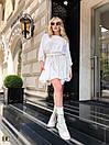 Белое летнее платье с расклешенной юбкой и рукавами фонариками 31py1497, фото 3