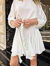 Белое летнее платье с расклешенной юбкой и рукавами фонариками 31py1497, фото 4