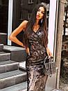 Вечернее длинное платье из черное сетки с пайетками на подкладе без рукава 66py1500Е, фото 2