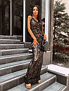 Вечернее длинное платье из черное сетки с пайетками на подкладе без рукава 66py1500Е, фото 4