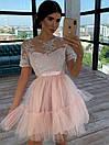 Короткое платье с фатиновой пышной юбкой и кружевным верхом с коротким рукавом 66py1504Е, фото 3