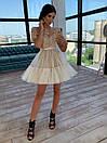 Короткое платье с фатиновой пышной юбкой и кружевным верхом с коротким рукавом 66py1504Е, фото 4