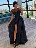Длинное платье из сетки с блестками с коротким рукавом и разрезом 66py1505Е