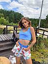 Летний женский костюм с принтованными свободными шортами и топом 18ks1016, фото 3