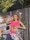 Летний женский костюм с принтованными свободными шортами и топом 18ks1016, фото 4