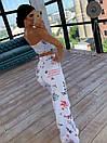 Женский брючный костюм с топом без бретель и брюками клеш 66ks1033Q, фото 5