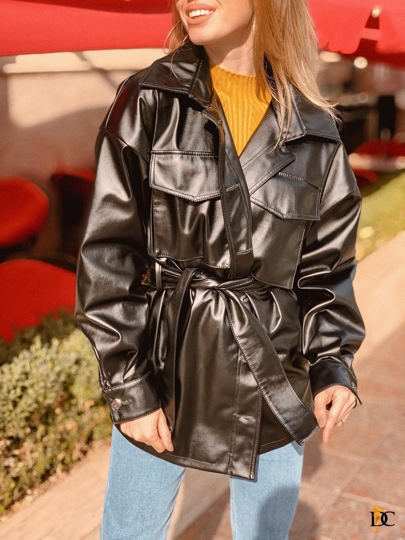 Женский кожаный пиджак - рубашка в черном цвете 31pk269