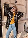 Женский кожаный пиджак - рубашка в черном цвете 31pk269, фото 3