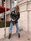 Женский кожаный пиджак - рубашка в черном цвете 31pk269, фото 4