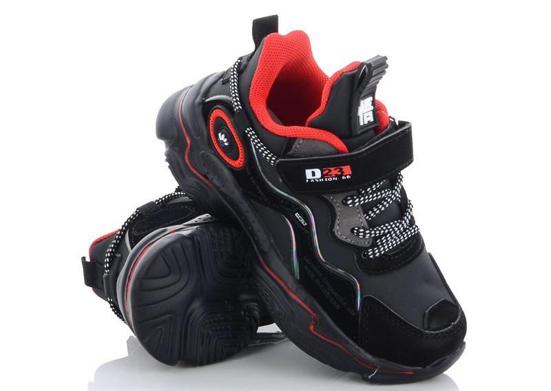 Детские кроссовки на липучках, размеры 27-32, замеры в описании (Черные)