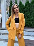 Женский горчичный брючный костюм: удлиненный пиджак и брюки кюлоты, с поясом, фото 5