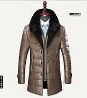 Куртка чоловіча подовжена шкіряна зимова з хутряним коміром дуже тепла прошита, фото 1