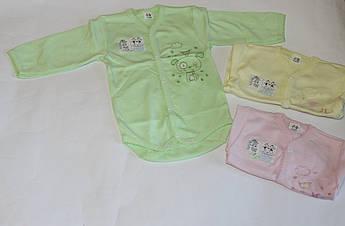 Боди ясельный с вышивкой с длинным рукавом для новорожденного Размер 62 см, 68 см, 74 см
