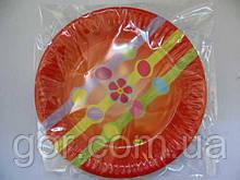 """Тарелки праздничные бумажные одноразовые 23см""""Рыжая""""  10шт (1 пач) ламинированная картонная цветная с рисунком"""