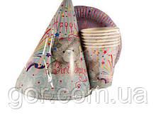 """Набор одноразовый бумажной посуды №1/19 """"Мишка!""""  6шт (1 пач) ламинированный с рисунком для праздника"""