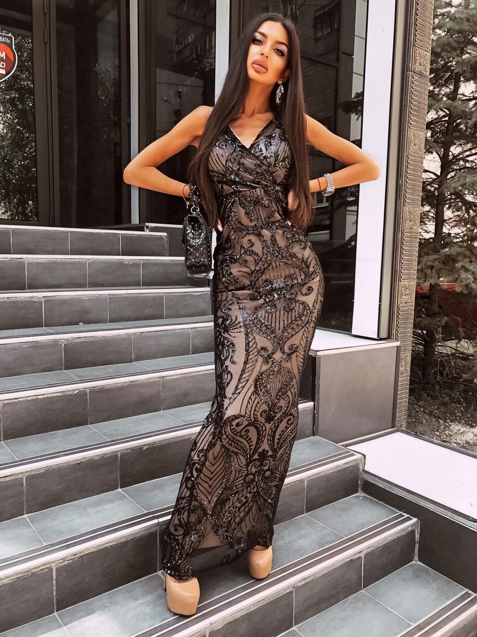 Вечернее длинное платье из черное сетки с пайетками на подкладе без рукава 66ty1500Е