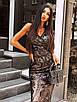 Вечернее длинное платье из черное сетки с пайетками на подкладе без рукава 66ty1500Е, фото 2