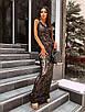 Вечернее длинное платье из черное сетки с пайетками на подкладе без рукава 66ty1500Е, фото 4