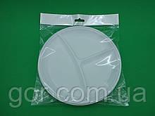 """Тарелка большая 3 секции (10шт) ТМ """"Супер торба"""" (1 пач) набор одноразовой посуды для пикника"""