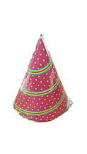 """Головной убор Колпак """"Точки"""" 6шт (1 пач) ламинированный с рисунком для праздника"""