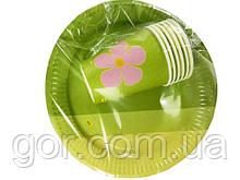 """Одноразовый набор бумажной посуды №4/23 """"Зеленая"""" (1 пач) ламинированный с рисунком для праздника"""
