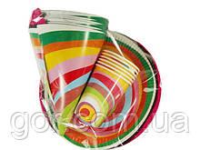 """Комплект одноразовой бумажной посуды  №2/23 """"Веселая!""""  6шт (1 пач) ламинированный с рисунком для праздника"""