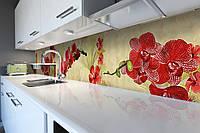 Кухонный фартук Ветки Красных Орхидей (виниловая пленка наклейка скинали ПВХ) цветы Бежевый 600*2500 мм
