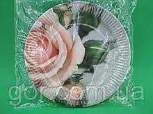 """Тарелки праздничные бумажные 23см""""№5""""Розовая Роза   10шт (1 пач) ламинированная картонная цветная одноразовая"""