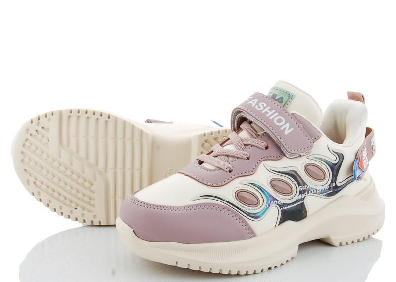 Детские кроссовки на липучках, размеры 31-36  (Бежевые)