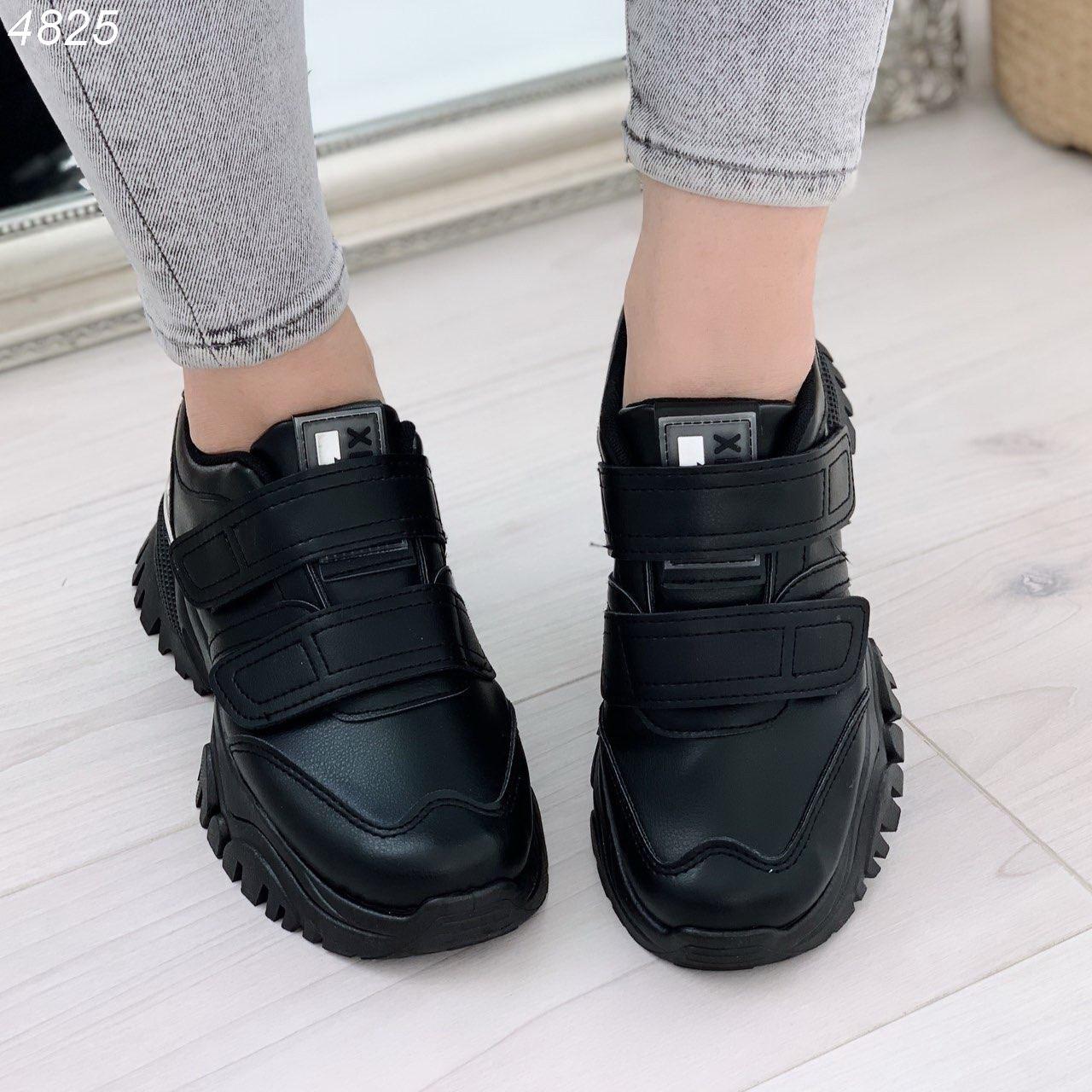 Черные женские кроссовки из экокожи на двух липучках BO4825