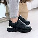 Черные женские кроссовки из экокожи на двух липучках BO4825, фото 2